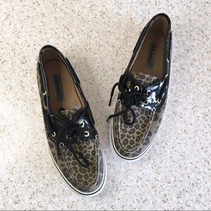 Sperry Leopard Canvas & Patent Black Boat Shoes